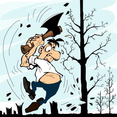 Man with an ax chopping trees