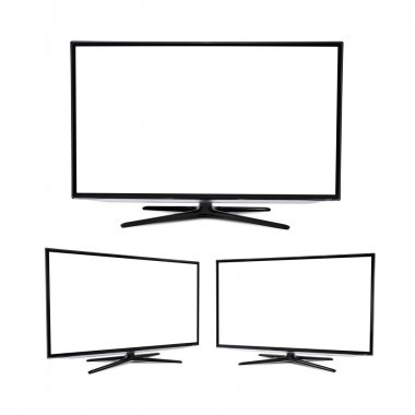 Modern blank flat screen TV set, isolated on white background