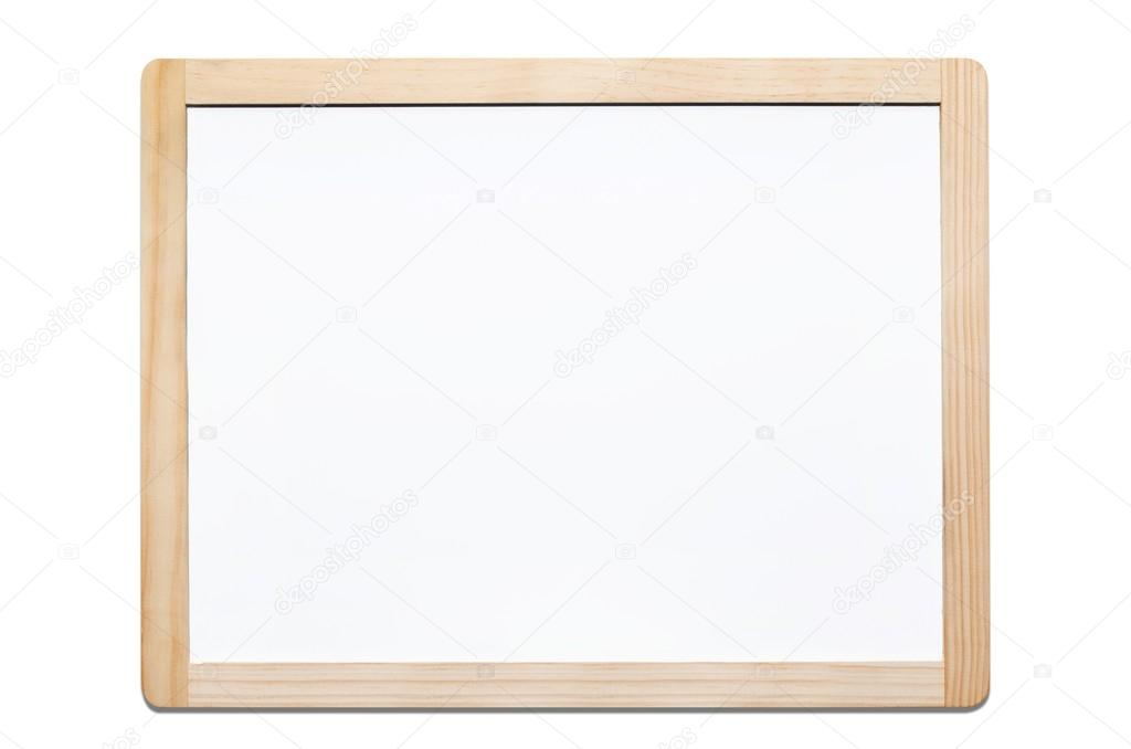 Magnetic whiteboard isolated on white with wooden frame — Stock ...