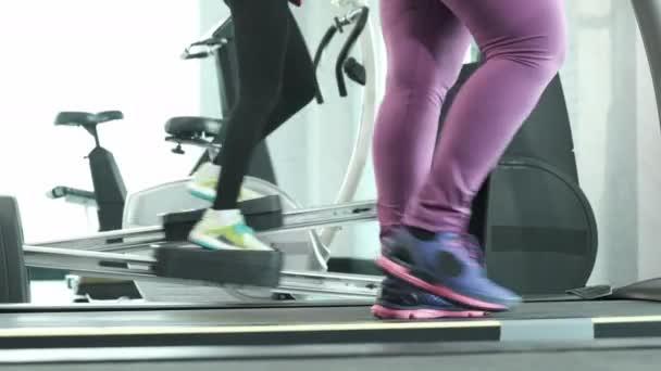 Nahaufnahme Foot Fitness Asiatin läuft auf Laufband und andere Übungen auf Horizontal Elliptical Cross, Ausdauertraining im Fitnessstudio