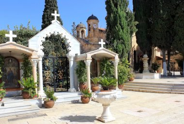 Courtyard in the orthodox church of the first miracle, Kafr Kanna, Israel