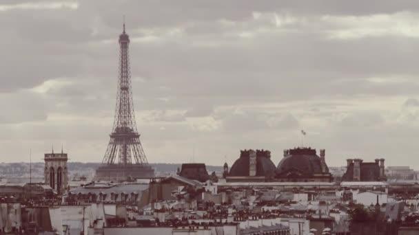 Timelapse retro barvy tónovat Eiffelova věž Paříž