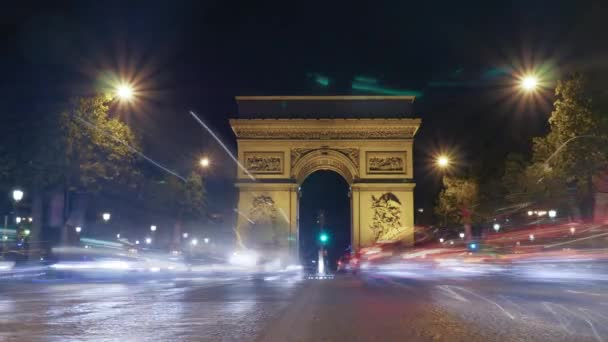 Timelapse of night traffic near Triumphal Arch