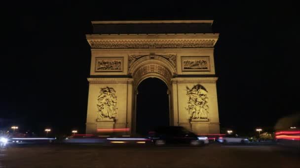 Timelapse of traffic near Triumphal Arch at night