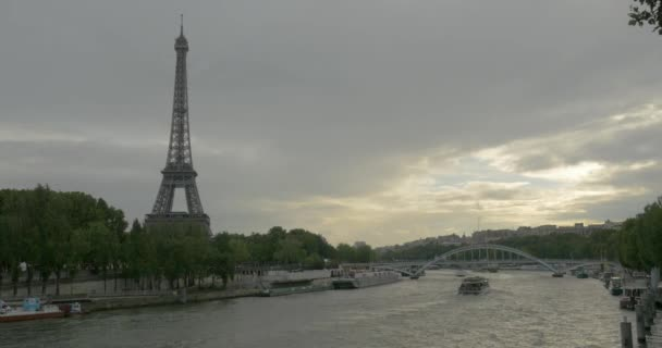 Timelapse shot of ship traffic on Seine River in Paris