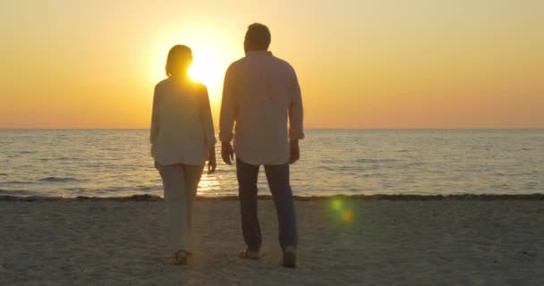 Loving senior couple enjoying sunset over sea
