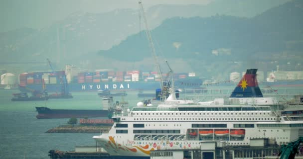 View to Hong Kong harbour with passenger and cargo ships