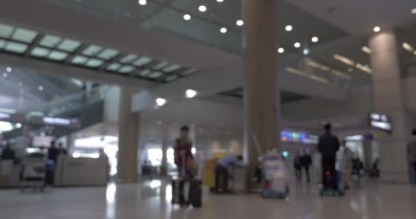 People with baggage and carts in airport terminal