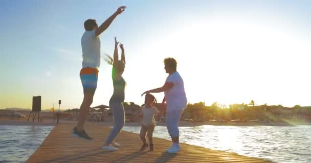 Family Having Fun during the Morning Exercises