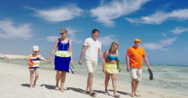 Family having enjoyable walk on the beach