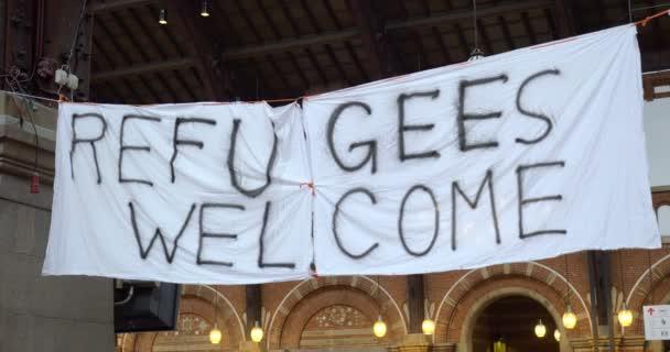 Ruční banner uprchlíci Vítejte