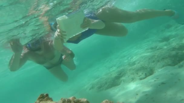 People Using Touch Pad Underwater