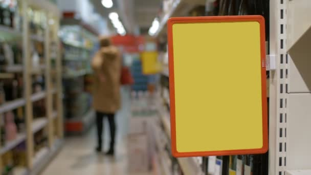 Empty advertising board in the supermarket