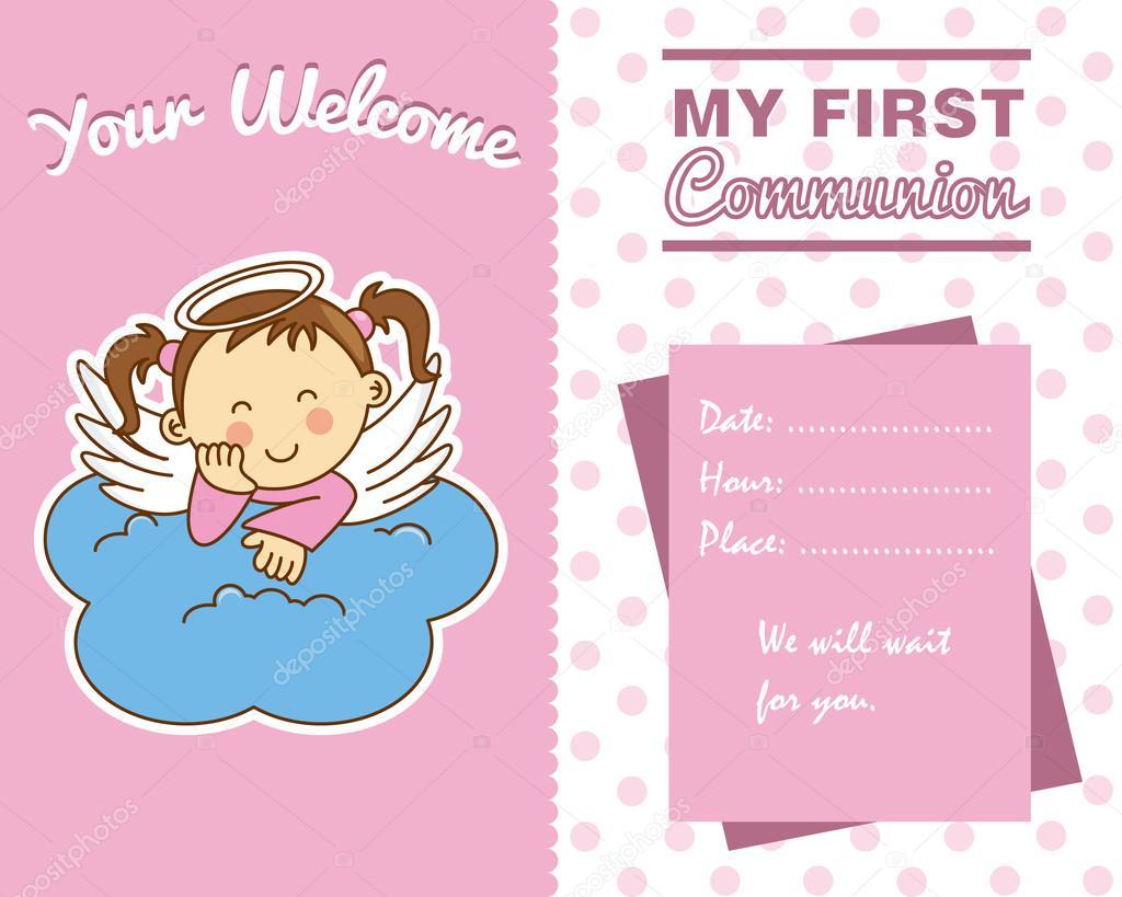 Kommunion Karte Text.Mädchen Kommunion Karte Platz Für Text Stockvektor Sbego 101028432