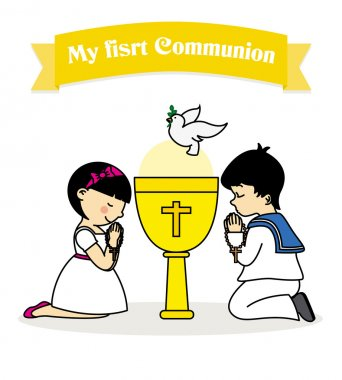 my first communion card. boy and girl