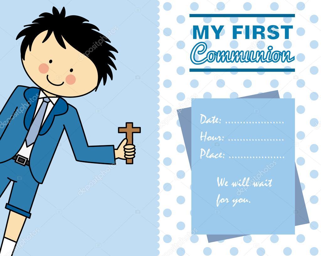 90ae478b6dbe6 Tarjeta de primera comunión niño - vectores  tarjetas niños — Vector de  sbego — Vector de ...