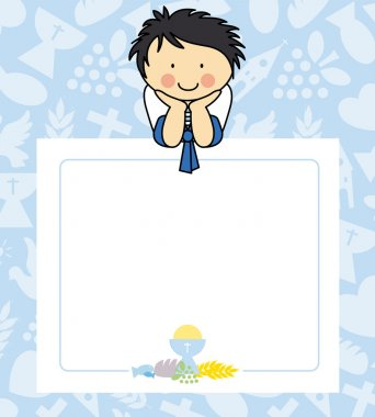 Boy first Communion card . space for text