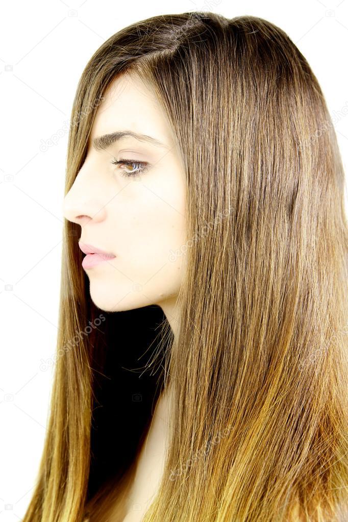 Profil Göz önünde Düz Yumuşak Ipeksi Tüyleri Olan Güzel Kadının