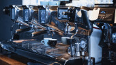 modern professional coffee machine in coffee shop
