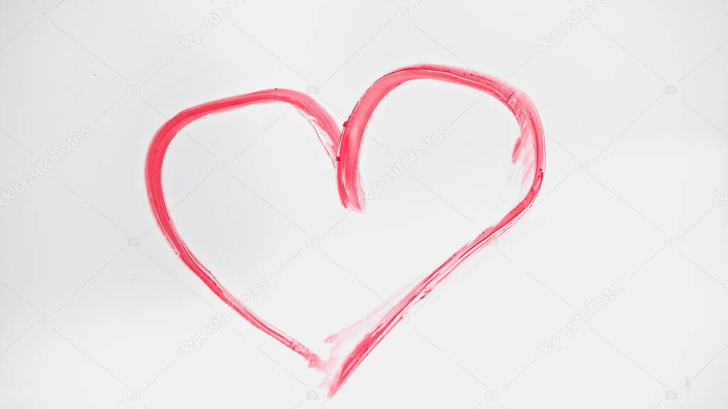 Top view of drawn pink heart with lipstick on white stock vector