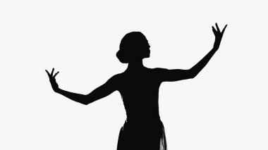 Silhouette of sensual ballerina dancing isolated on white stock vector