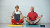 ältere interrassische Paare meditieren in Lotus-Pose auf Fitnessmatten