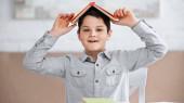 Usmívající se předpubertální chlapec drží knihu nad hlavou doma
