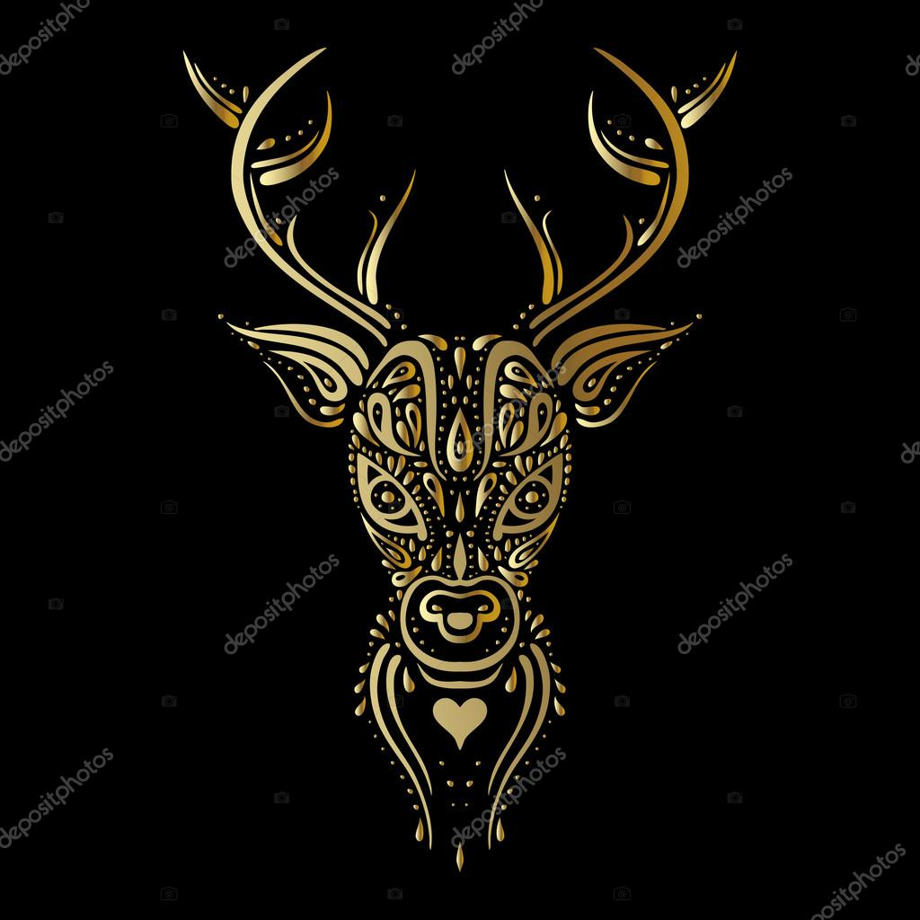 Głowa Jelenia Polinezyjski Tatuaż Styl Grafika Wektorowa