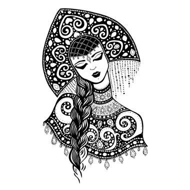 Russian traditional beauty girl