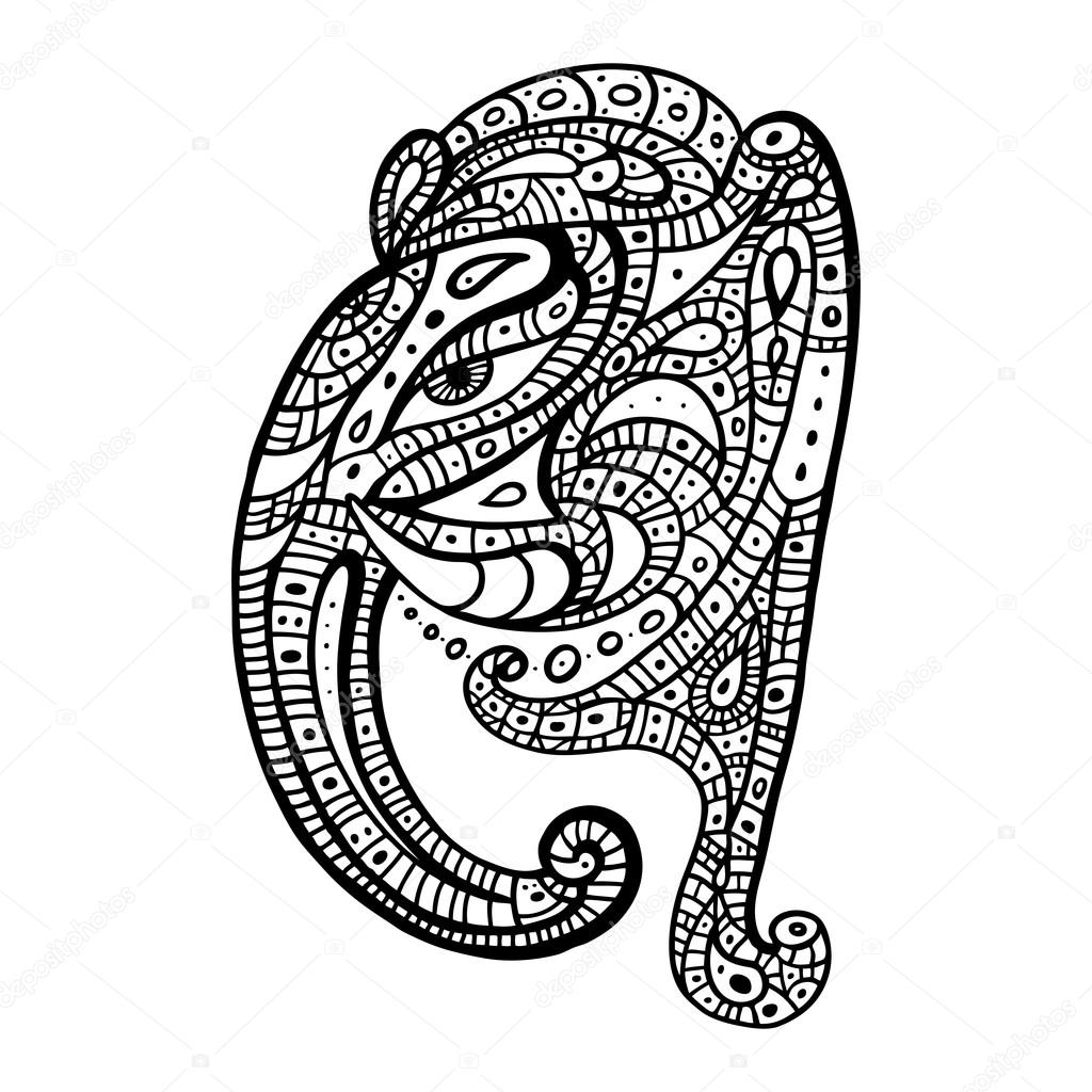 Elephant head.. Ganesha Hand drawn illustration.