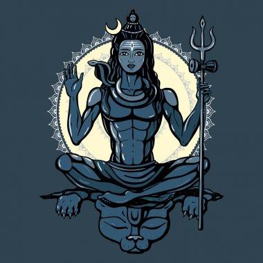 Lord Shiva Hindu god Pose meditation. Vector illustration stock vector
