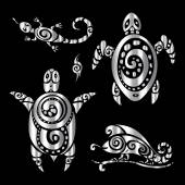 Photo Turtle and Lizards. Polynesian tattoo style.