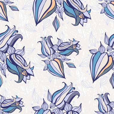 Bell flowers. Seamless Vector background