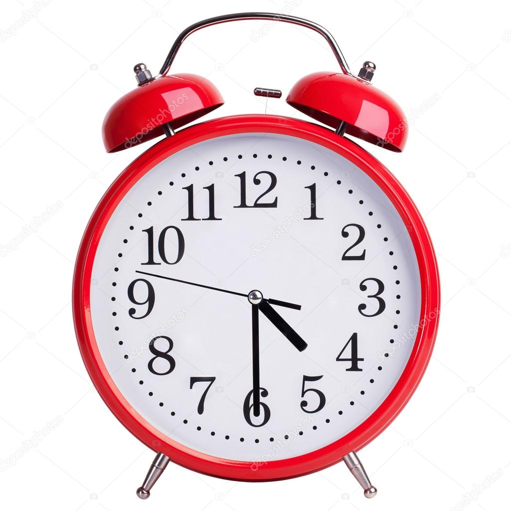 Round alarm clock shows half past four — Stock Photo