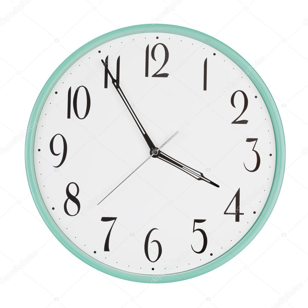 clock shows five minutes to four stock photo