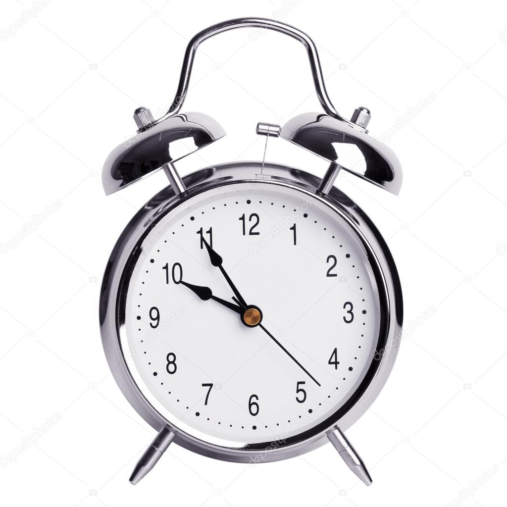 five minutes to ten on an alarm clock stock photo