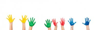 Cropped view of hands of children in colorful paint isolated on white, banner stock vector