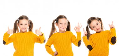 Collage of smiling child showing like, okay and pointing with fingers isolated on white, banner stock vector