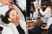 Fotografie collage of barber washing hair of woman, cutting her hair and showing hair colors palette