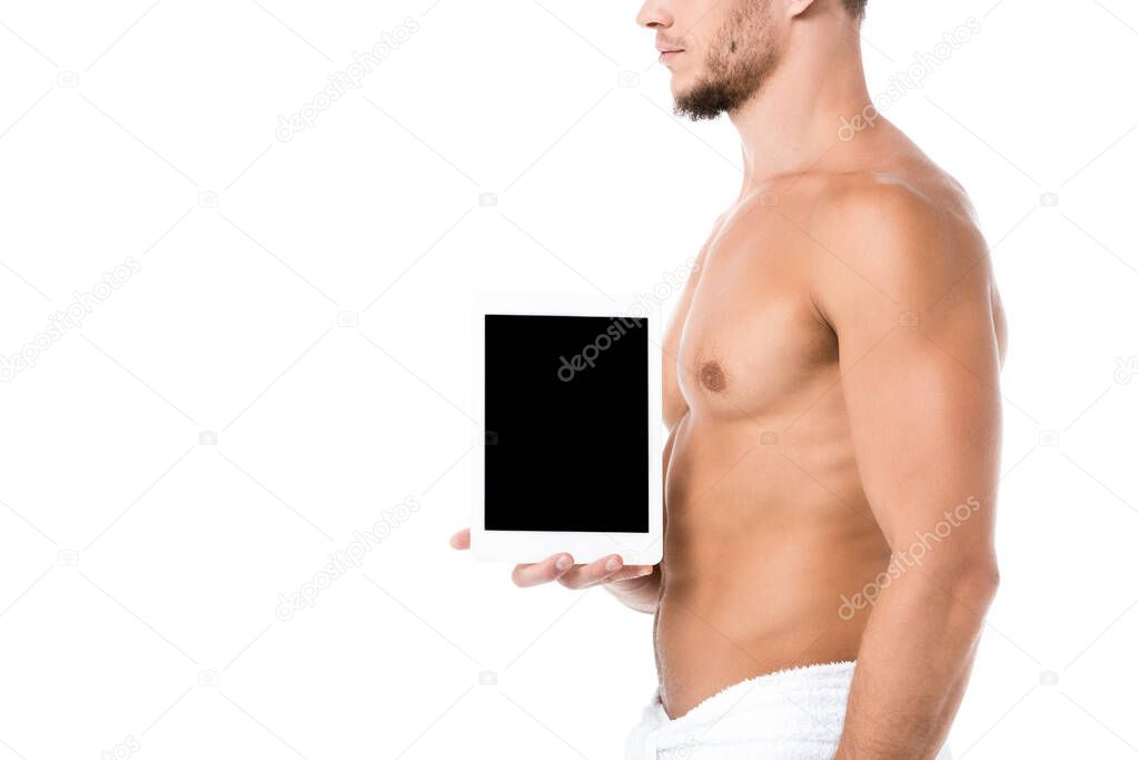 Cropped view of sexy shirtless man in towel presenting digital tablet isolated on white stock vector