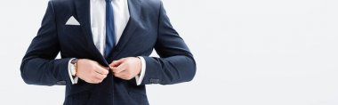Cropped view of young businessman in suit buttoning blazer isolated on white, banner stock vector