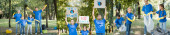 koláž dobrovolníků rodina držící plakáty bez nápisu planety b, sbírající odpadky v lese, a ukazující gesto vítězství, koncept ekologie, banner