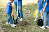 Photo cropped view of mother and daughter holding young tree and watering can while father and son digging ground, ecology concept