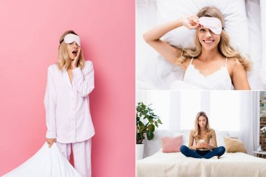 Collage of excited woman holding pillow on pink background and using smartphone on bed at home stock vector