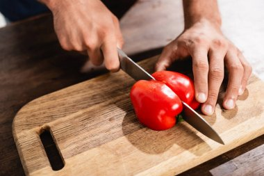 Cropped view of man cutting bell pepper on wooden cutting board stock vector