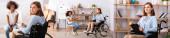 Koláž psychologa poradenství africké americké dívky a při pohledu na kameru, zatímco sedí na invalidním vozíku, banner