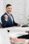 Excited businessman with yes gesture looking at camera, while sitting at table in office on blurred foreground