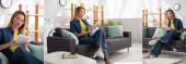Collage einer jungen blonden Frau mit Brille und digitalem Tablet, während sie zu Hause auf der Couch sitzt, Banner