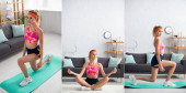 Collage einer jungen Sportlerin mit überkreuzten Beinen, die wegschaut und Ausfallschritte macht, während sie die Hantel zu Hause hält