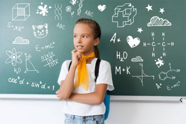 Schoolgirl with backpack looking away near green chalkboard with school icons illustration stock vector